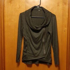Cowl neck side zipper sweater